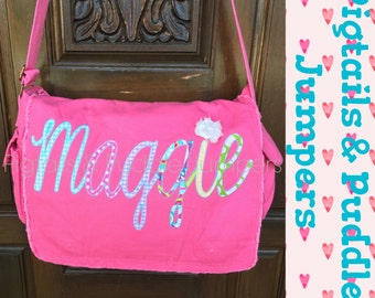 Personalized Messenger Bag-Diaper Bag- Applique-Custom Backpack- School Bag- Teacher Gift-Cursive Font