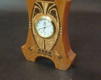 Art Nouveau inlaid miniature clock MDC-30   Free Shipping.