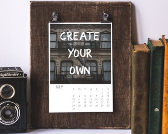 Calendar Template, Custom Calendar, Digital Download, 2017 Create Your Own Calendar, Photoshop, PSD File, For Photographers