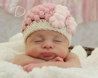 Flower Puffs Beanie CROCHET PATTERN instant download - hat