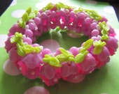 RESERVED 1960's Flower Bracelet Purple and Hot Pink Vintage Costume Jewelry Destash Mod Flowers Beads Hippie Party