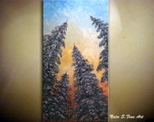 """Original Pine Trees Painting Abstract Contemporary Large Artwork.Impasto.Palette Knife.Pine Trees Painting 48"""" Ready to Ship... by Nata S."""