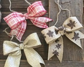 Handmade Bows Add On to Rustic Photo Frames Set of 3 Seasonal Bows with Jute String