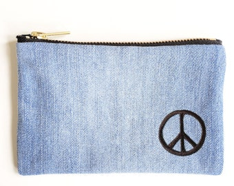 Peace Embroidery Wallet - Hand Crafted from Salvaged Jeans