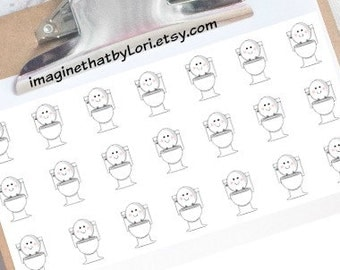 Happy potty happy toilet planner stickers for your Erin Condren planner