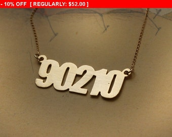 SALE!!! Beverly Hills 90210 Gold Necklace , Hollywood Charm , Funny Jewelry , Retro Necklace , 90's Childhood , California Necklace ,...