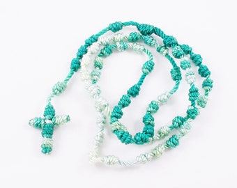 Knotted Cord Rosary, Kelly Green & White - Hospital Safe and Great for Small Children, Baptism, First Communion, Christmas Gift - Hand Dyed