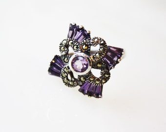 Vintage Art Deco Amethyst & Pink Tourmaline Ring / Sterling Silver and Marcasite / Size 8