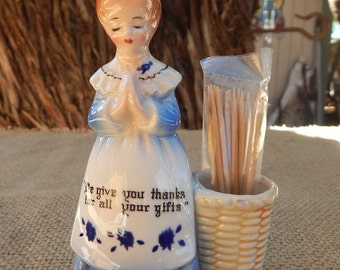 Enesco Tooth Pick Holder  ~  Praying Lady Toothpick Holder  ~    We Give You Thanks For All Your Gifts Toothpick Holder