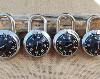 Master Combination Locks  ~  4 Vintage Master Combination Locks  ~  School Locks  ~  School Locker Locks  ~  Combination Lock  ~  4 Locks