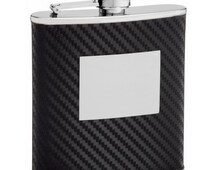6 ounce Mirror Finish Flask - with Faux Carbon Fiber Wrap - PersonalizedTOP22