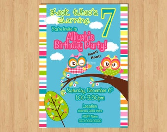 Owl Invitation Girl Owl Invite Owl Birthday Party Look Whoo's turning 1 You're a Hoot Owl Party Photo Picture 1st birthday Party invitation