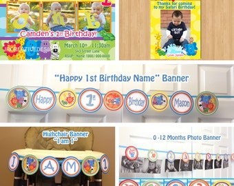 Safari Friends  Birthday Party Package Invite, Thank You, Birthday Banner, Highchair Banner, Photo Banner, Jungle Package, (DIY Printable)
