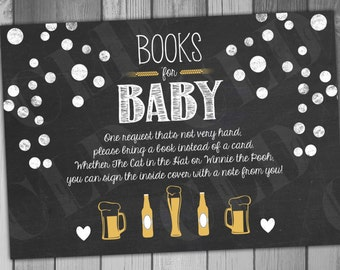 Baby Shower Book Insert Bring a Book A Baby is Brewing Shower Printable Baby Shower Books for Baby Chalkboard Neutral Baby Gold Baby