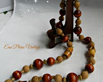 Brown Cork Beads Cane Wood Balls Boho Hippie Bohemian Necklace Earthy Naturals Vintage