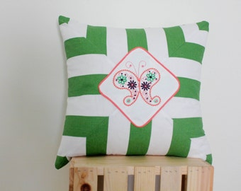 Green & White Butterfly pillow, embroidered pillow, unique pillow, spring garden, paisley butterfly pillow, stripe pillow, embroidery