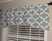 """Premier Prints Fynn Cool Gray Grey and White Arch Shaped Valance 52"""" x 19"""" with Lining Lined"""