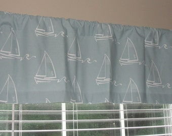 """Premier Prints Sailboat Spa Blue Valance 50"""" wide x 16"""" long Nautical Theme Lined or Unlined Light Dusty Blue"""