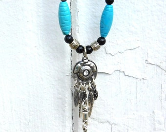 Turquoise Blue Stone, Magnesite, Black Onyx, Bamboo Coral, Silver Plated Bear Claw Pendant with Rhinestone, Feathers, Handmade Necklace