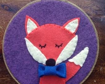 Fox Nursery Wall Art - Orange Woodland Fox with Bowtie - Baby Shower Gift - 3D Wall Art - Felt Hoop Art - Embroidery Hoop Art