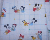 "DISNEY Baby Mickey & Minnie Mouse Fitted Crib Sheet by Dundee Vintage Fabric Material 25"" x 48"""