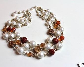 Vintage   Faux pearl Glass beads Necklace  1960s Japan # 464