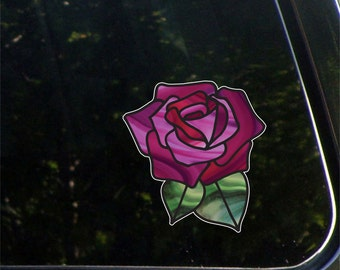 "CLR:CAR - Rose Stained Glass -D1- Car | Truck | Home Decor Vinyl Decal - © 2015 YYDC (5.5""w x 5.75""h) (Color Choices)"