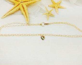 Gold Heart Anklet Gold Chain Anklet Real 14kt Gold Anklet Double Strand 14k Gold Filled Anklet Stamped GF 1/20 BuyAny3+Get1 Free