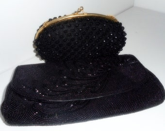 Vintage Evening Bags,Black Evening Purses, Beaded Bags, 2 Handbags