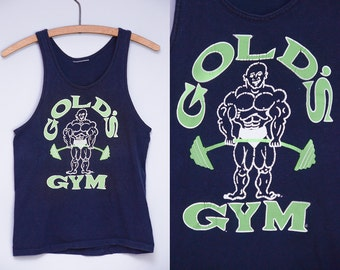 80s Muscle Shirt Golds Gym Black Cotton Gym Rat Tank Top