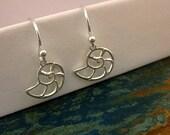 Shell Earrings - Sterling Silver Charm Earrings - Fossil - Nautilus - Best Friend - Girlfriend - Mom - Seashell - Birthday - Summer - Ocean