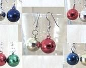 Metallic Plastic Round Christmas Ornament Dangle Earring, Handmade Original Fashion Jewelry, Bright Colors Festive Holiday Ladies Teens