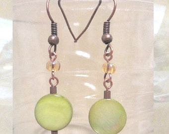Copper & Lime Green Shell Disc Dangle Pierced Earrings, Handmade Original Fashion Jewelry, Bold Simple Beach Summer Fun Ladies Gift Idea