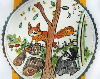 Fox & Badger Card - Screen printed and hand painted greeting card of woodland animals flowers plants