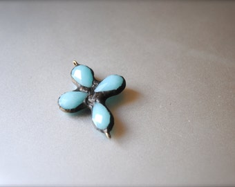 Turquoise Crystal soldered pendant cross