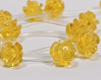 Citrine 10mm 6 Beads Carved Rose Natural Gemstone Beads Citrine Beads Jewelry Making Supplies