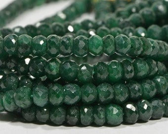 Emerald  4.5mm 4 inch Strand Faceted Rondelle Beads Natural Gemstone Beads Jewelry Making Supplies Emerald Beads