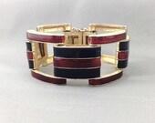 Bold Gorgeous Designer D'orlan Enamel Bracelet by Boucher, Stamped & Numbered. Deep Merlot Red and Midnight Black.