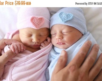 SALE Newborn hospital hat- Twin baby hat- twin newborn hat- twin hospital hat- twin hat- twins- twins clothing- baby hat- newborn hat