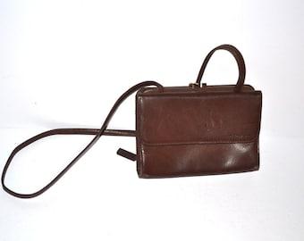 Vintage 80s Fossil bag chocolate brown leather  flap purse crossbody handbag shoulder bag . Excellent condition Gift for her