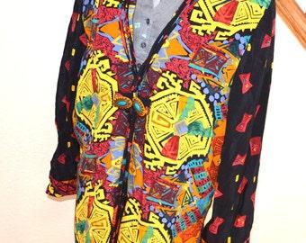 Vintage  Tribal ethnic Art women boyfriend shirt jacket robe size 10 by Ingroupltd  women blouse 80s colorful shirt