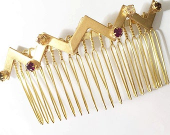 Purple Swarovski Crystal Gold Metal Zig Zag Hair Comb, for weddings, parties, evening, occasions