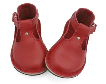 Red leather children's T-Bar shoes.  Girls shoes, boys shoes, toddler shoes, kids shoes