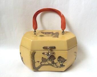 Vintage Owl Hard Case Purse