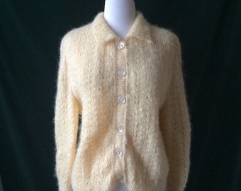 Vintage Mohair Ivory Cardigan Sweater
