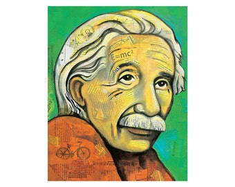Portrait of Albert Einstein, 8x10 PRINT, collage and paint by Elizabeth Rosen