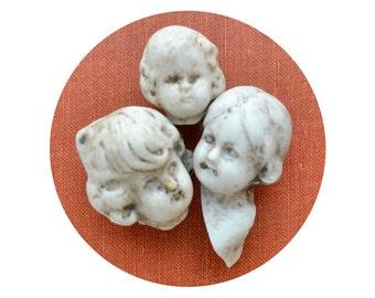 antique vintage doll heads, doll parts, antique doll, assemblage supply, dug up, frozen charlotte