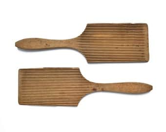 pair antique vintage ribbed wooden butter paddles, wood kitchenware, vintage serving, vintage wooden kitchen tools