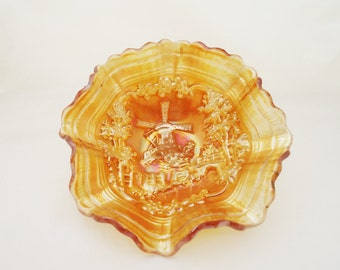 Vintage Imperial Marigold Carnival Glass Windmill Bowl  Ruffled Scalloped Edge, Collectable Carnival Glass