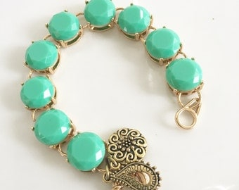 Mint Green Statement Bracelet Bridesmaid Gift Mint and Gold Round Beaded Bracelet